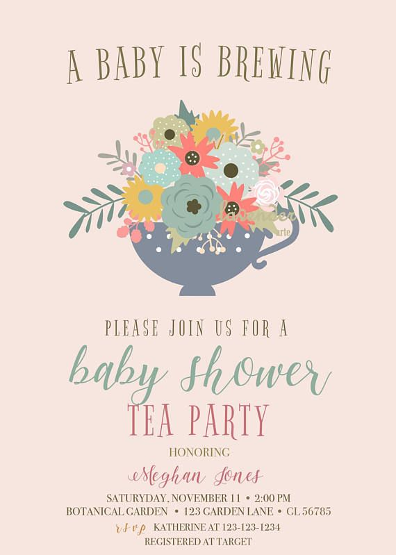 A Baby Is Brewing A Lovely Floral Baby Shower Tea Party Invitation A Rustic Way To C Tea Party Baby Shower Invitations Tea Party Baby Shower Baby Shower Tea