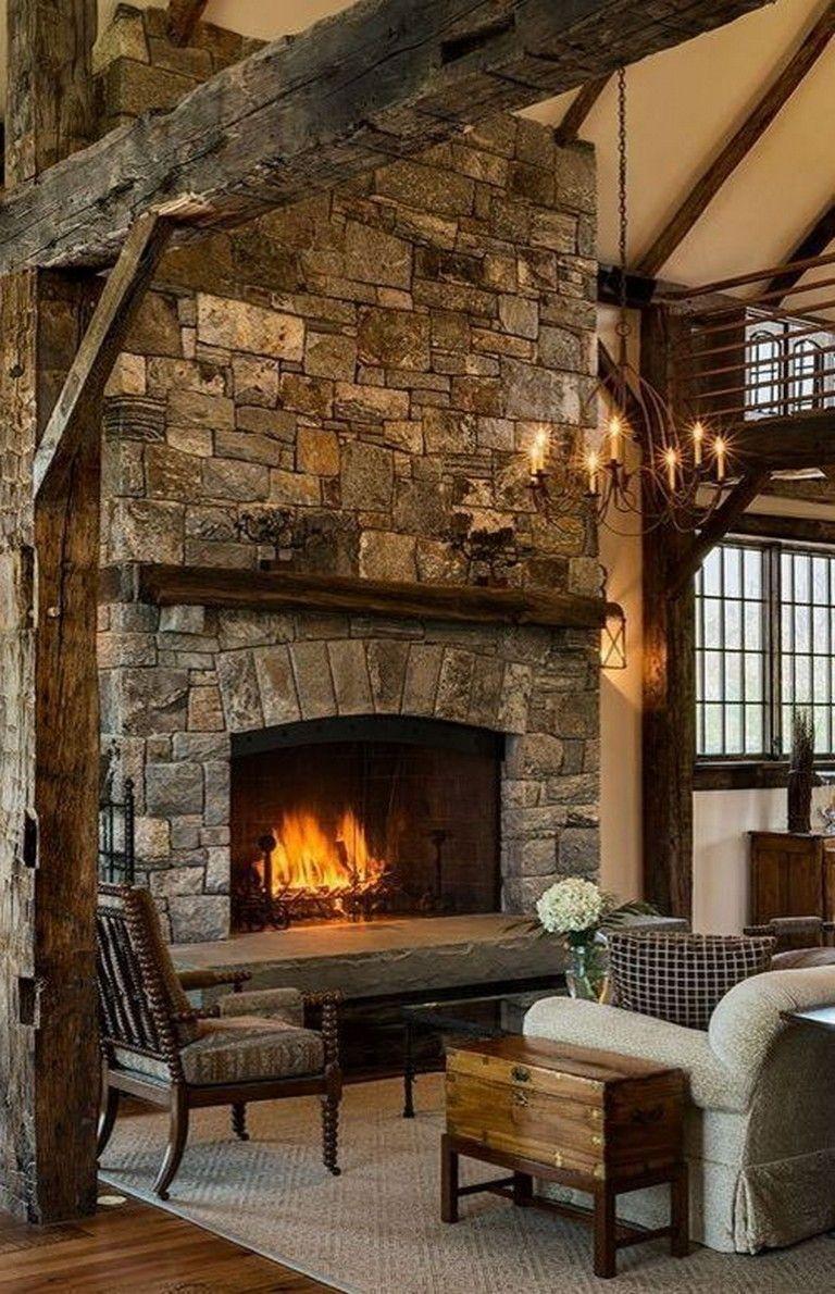 40 good rustic fireplace design ideas rustic fireplace