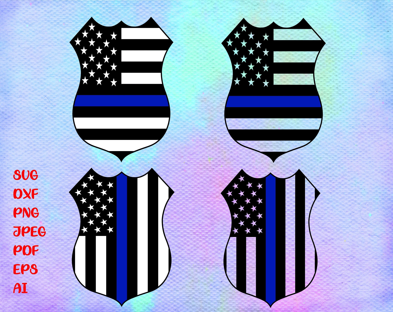 Police Badge American Flag Thin Blue Line Instant Digital Download Svg Ai Dxf Eps Png Jpg Files Police Badge American Flag Shaka Sign