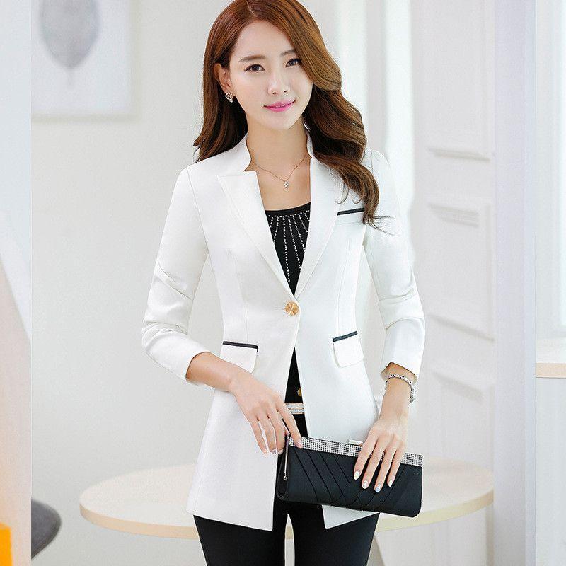 Long Style 2016 Office Ladies Blazer Feminino Outwear Women Blazers Jackets Bleiser Coats Americanas Mujer Korean V Neck Blaser