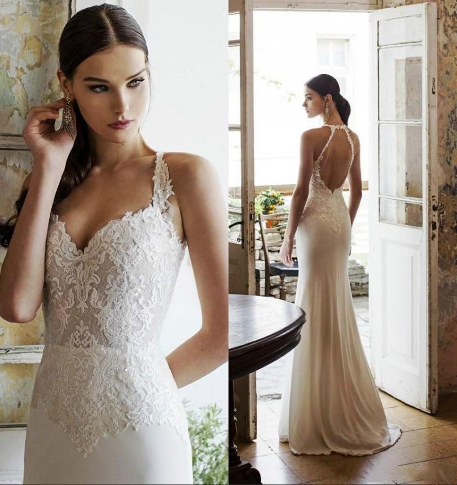2015 Vadim Margolin Wedding Dresses Spring Summer Mermaid Lace Spaghetti Backless Chiffon Beach Simple Gowns