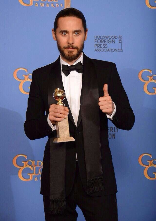 Jared Leto Poses In The Press Room With The Award For Best Supporting Actor In A Motion Picture For Dallas Buyers Club At The Annual Golden Globe Awards