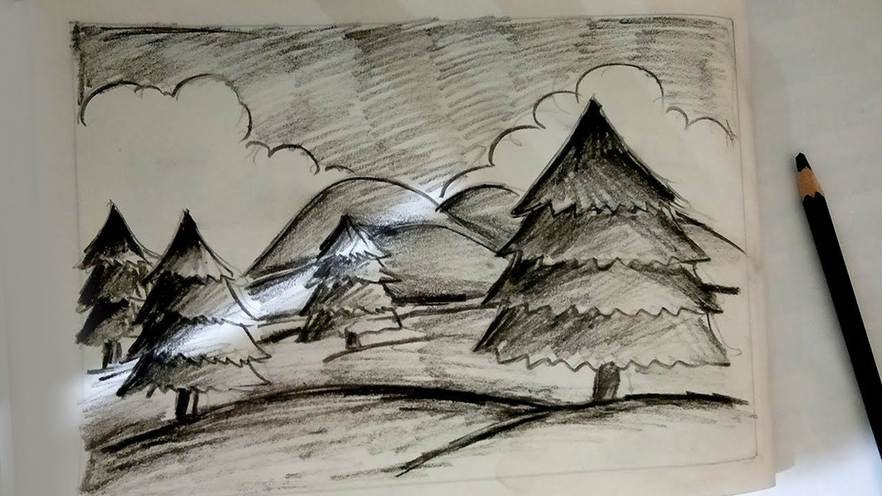 Christmas Charcoal Pencil Sketch 2020 Charcoal Drawing   Learn Christmas scenery with Charcoal Pencil in