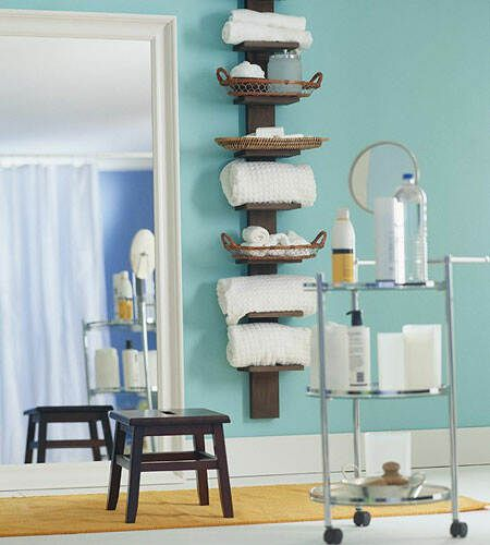 Tall Wall Spine Bookshelf As Bathroom Rack