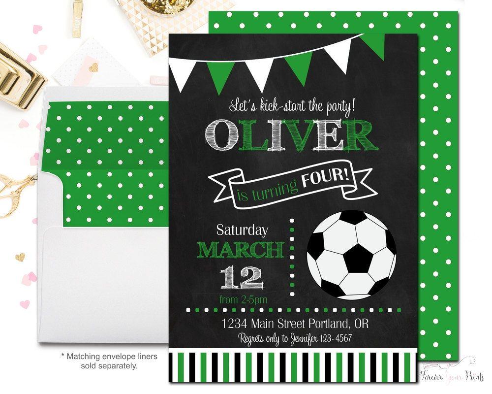 Soccer Party Invitation Printable - Sports Birthday Invitation ...