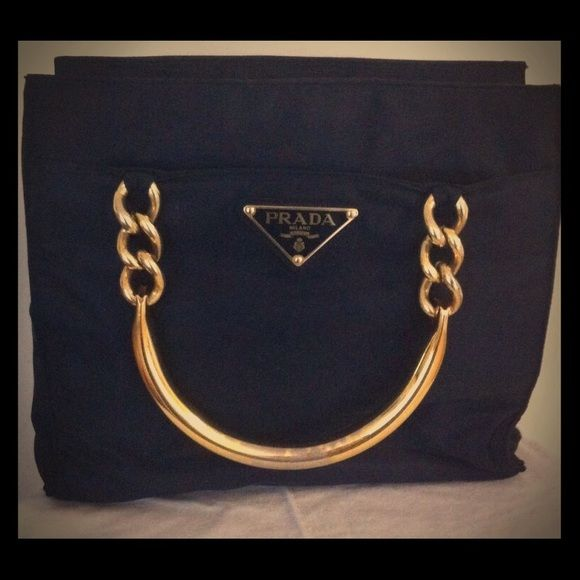 c5411e837576 Authentic PRADA black nylon with gold handle handbag... Early holiday gift  for yourself or your loved ones! Prada Bags Shoulder Bags