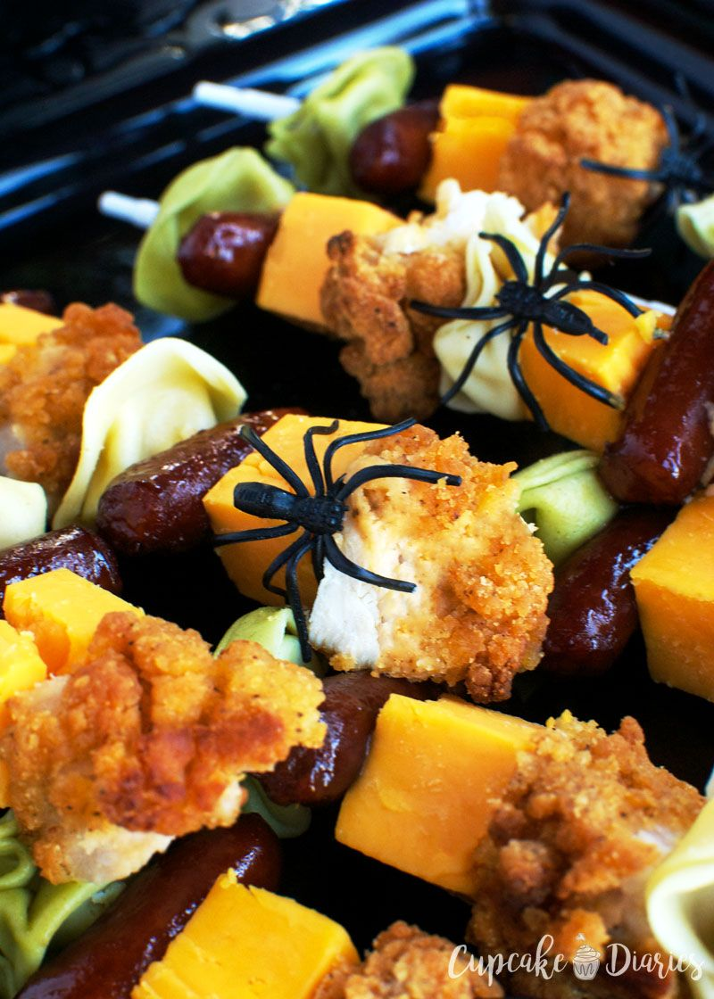 halloween chicken and pasta skewers whether youre making halloween dinner or planning a party these savory skewers are loaded with chicken pasta