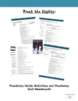 Freak The Mighty Vocabulary Activities And Vocabulary Tests Freak The Mighty Vocabulary Activities Vocabulary