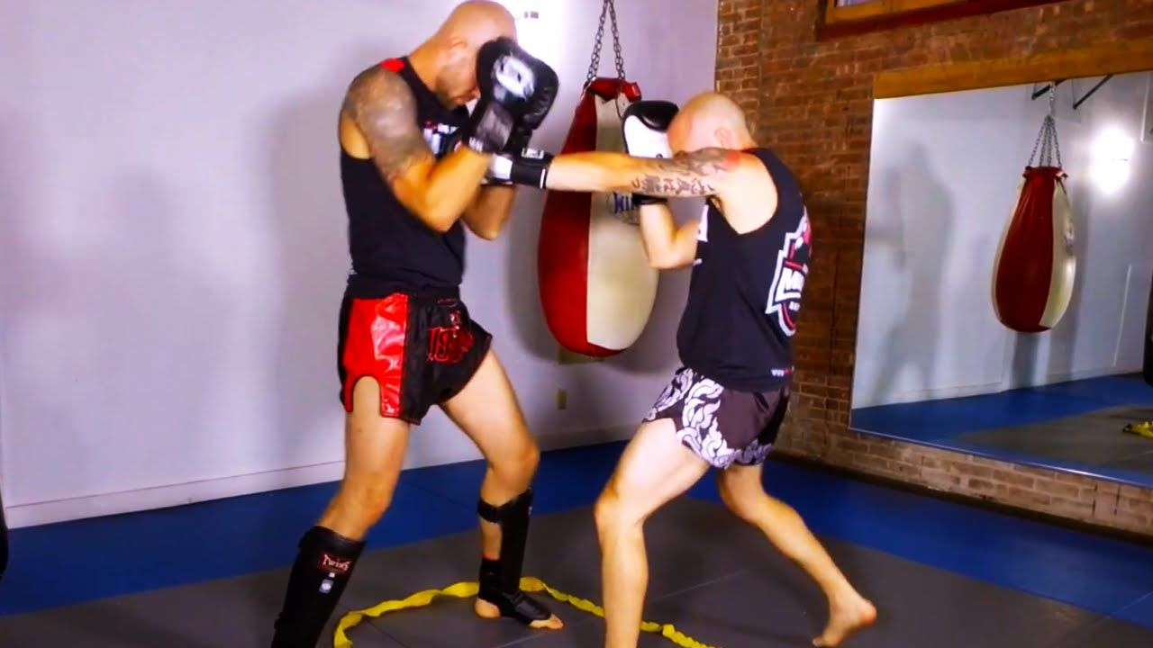 Boxing drill for muay thai close quarters sparring