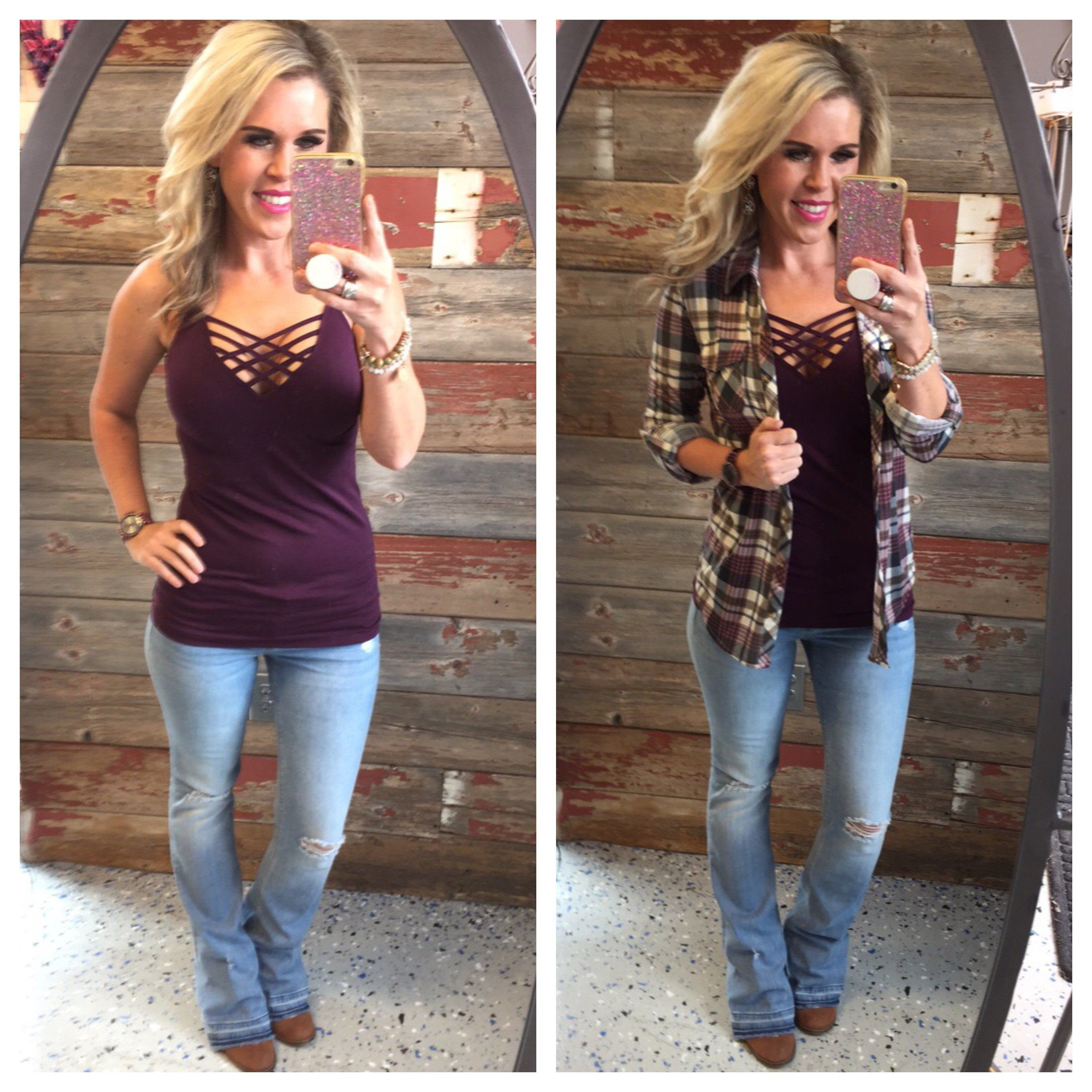 Casual flannel outfits  Penny Plaid Flannel Top IvoryPlum  Plaid flannel Flannels and Plaid