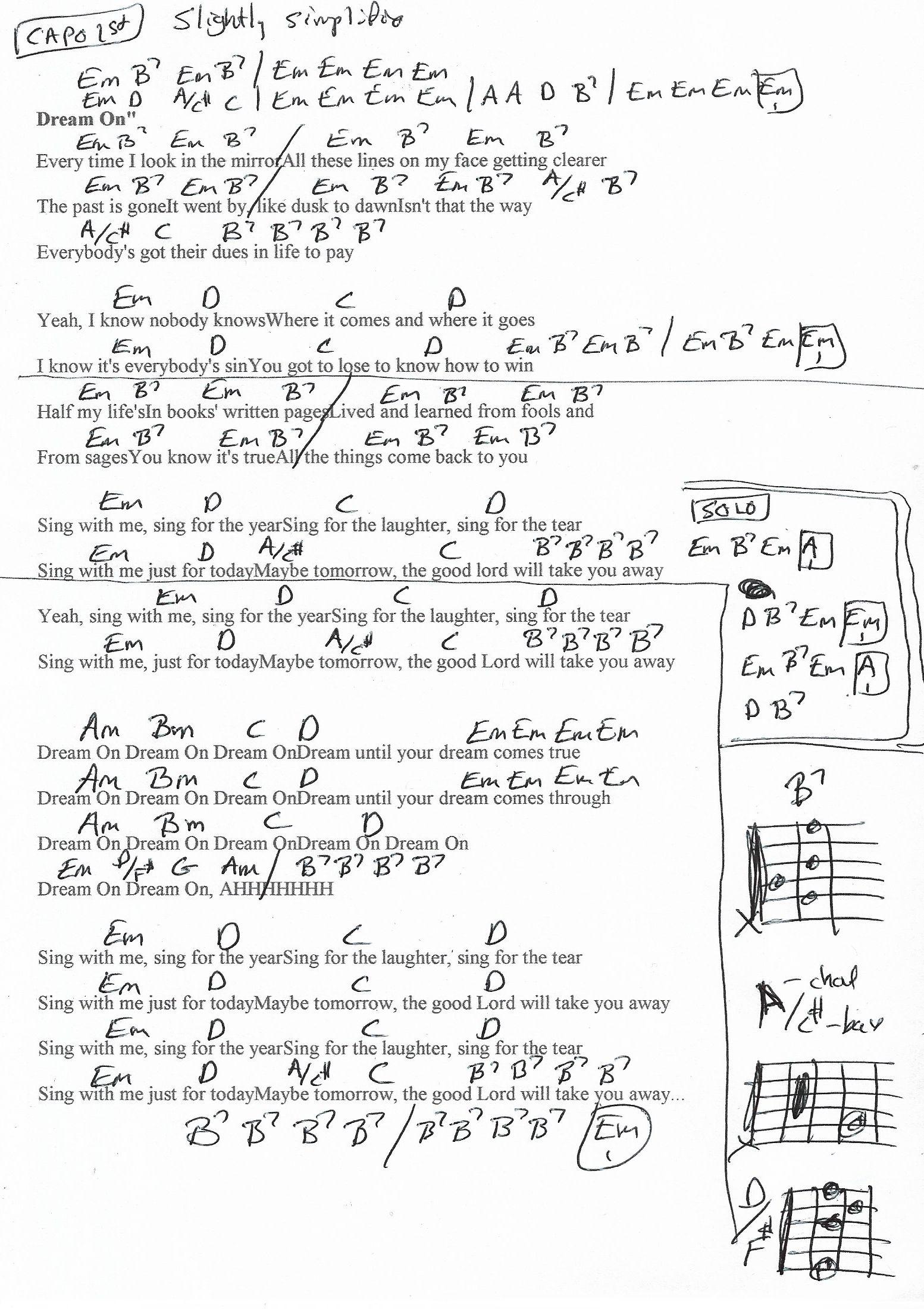 Dream On Aerosmith Guitar Chord Chart   Capo 15st   Simplified ...