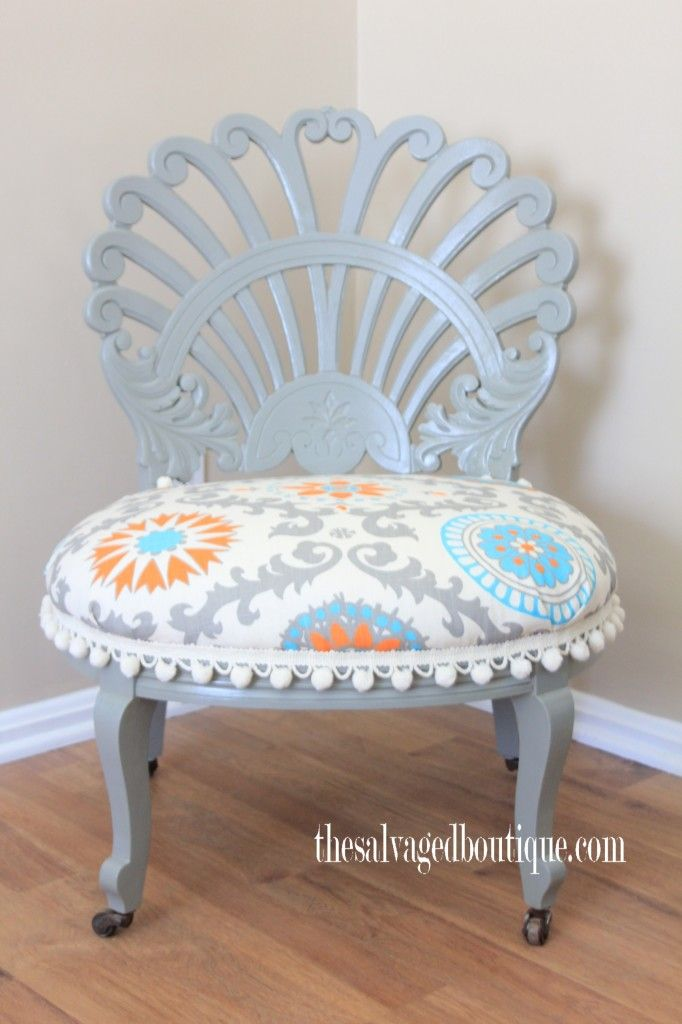 A vintage vanity chair gets a makeover | before and after @ The Salvaged  Boutique blog - A Vintage Vanity Chair Gets A Makeover Before And After @ The