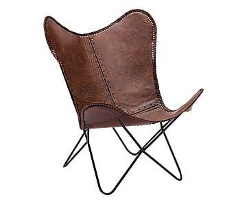 Sedia in cuoio e ferro marrone, 71x92x77 cm