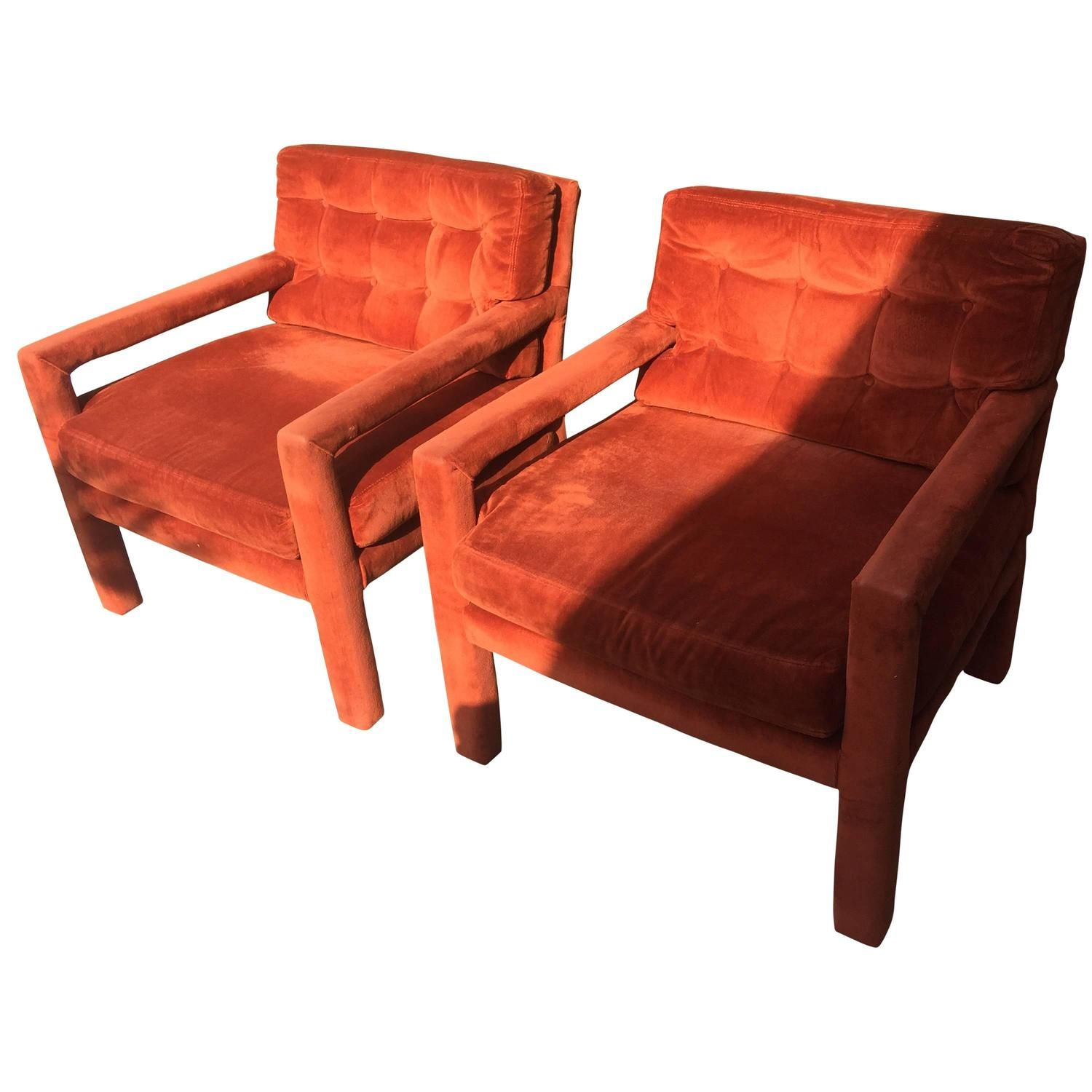 Pair Of Milo Baughman Tufted Mid Century Modern Parsons Armchairs Chairs