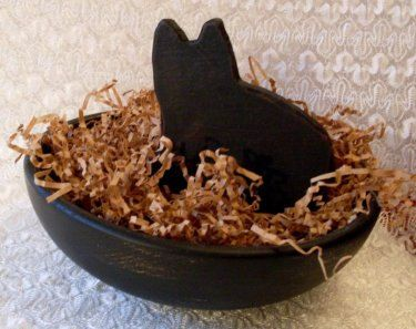 Primitive Folkart Hand Carved Black Wooden Cat   Beaconhillcollect  We Ship Internationally