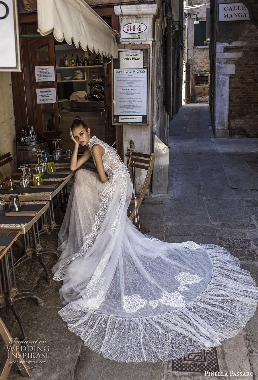 "Pinella Passaro 2019 Wedding Dresses — ""Wedding in Venice"" Bridal Collection #zivilhochzeitskleider pinella passaro 2019 bridal cap sleeves high neck heavily embellished bodice romantic soft a  line wedding dress keyhole back chapel train (14) mv sdv -- Pinella Passaro 2019 Wedding Dresses 