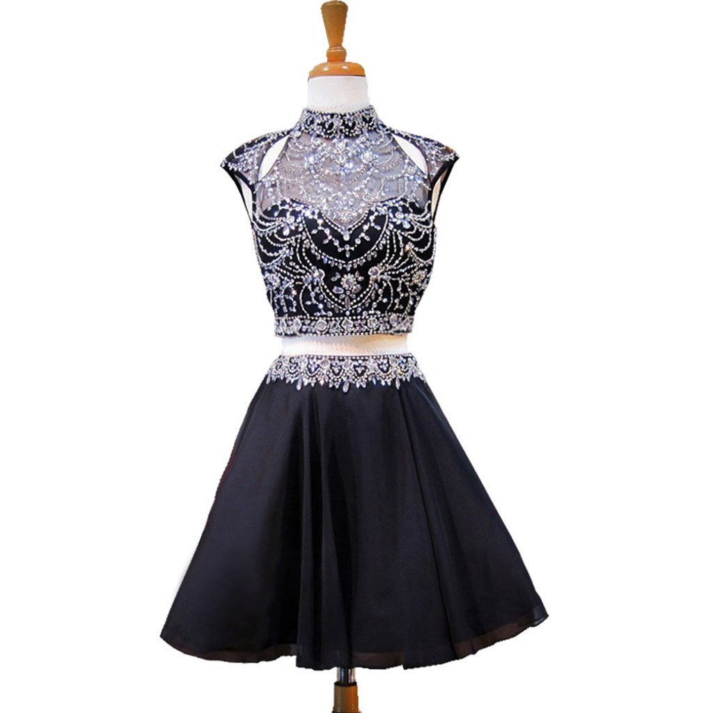 Short homecoming dress chiffon homecoming dress two pieces