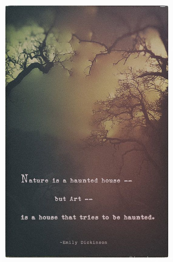 Typography Prints Foggy Woods Quote Print Halloween Decor Dickinson