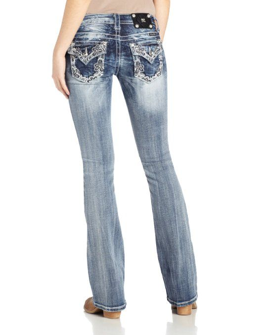 Miss Me Juniors Floral Bootcut Jean Jean: Clothing