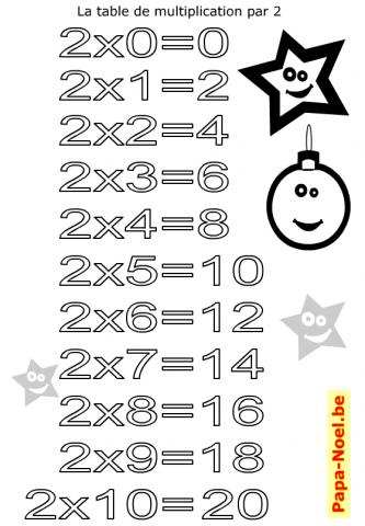 Table de multiplication de 2 imprimer coloriage gratuit - Table de multiplication en chanson gratuit ...