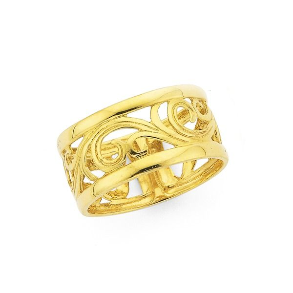 9ct Gold Filigree Swirl Ring Prouds The Jewellers