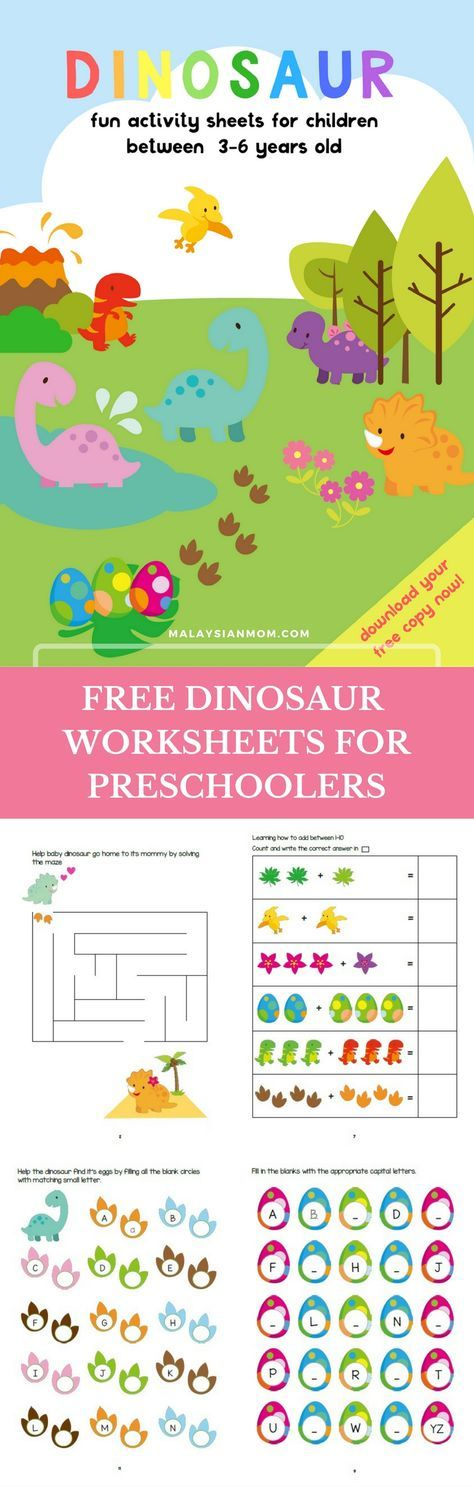 DINOSAUR ACTIVITY SHEETS FOR 3-5 YEARS OLD | Dinosaur activities ...