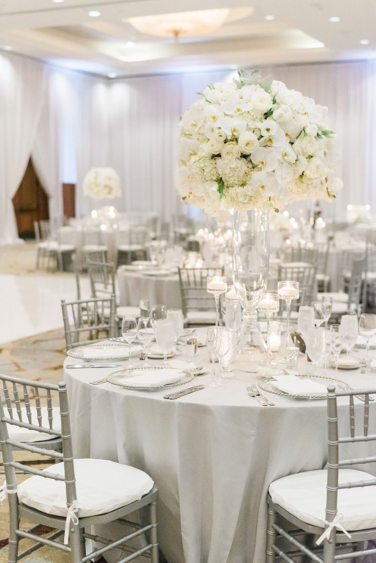 Luxury Glam Wedding In Silver And White Wedding Reception Tables