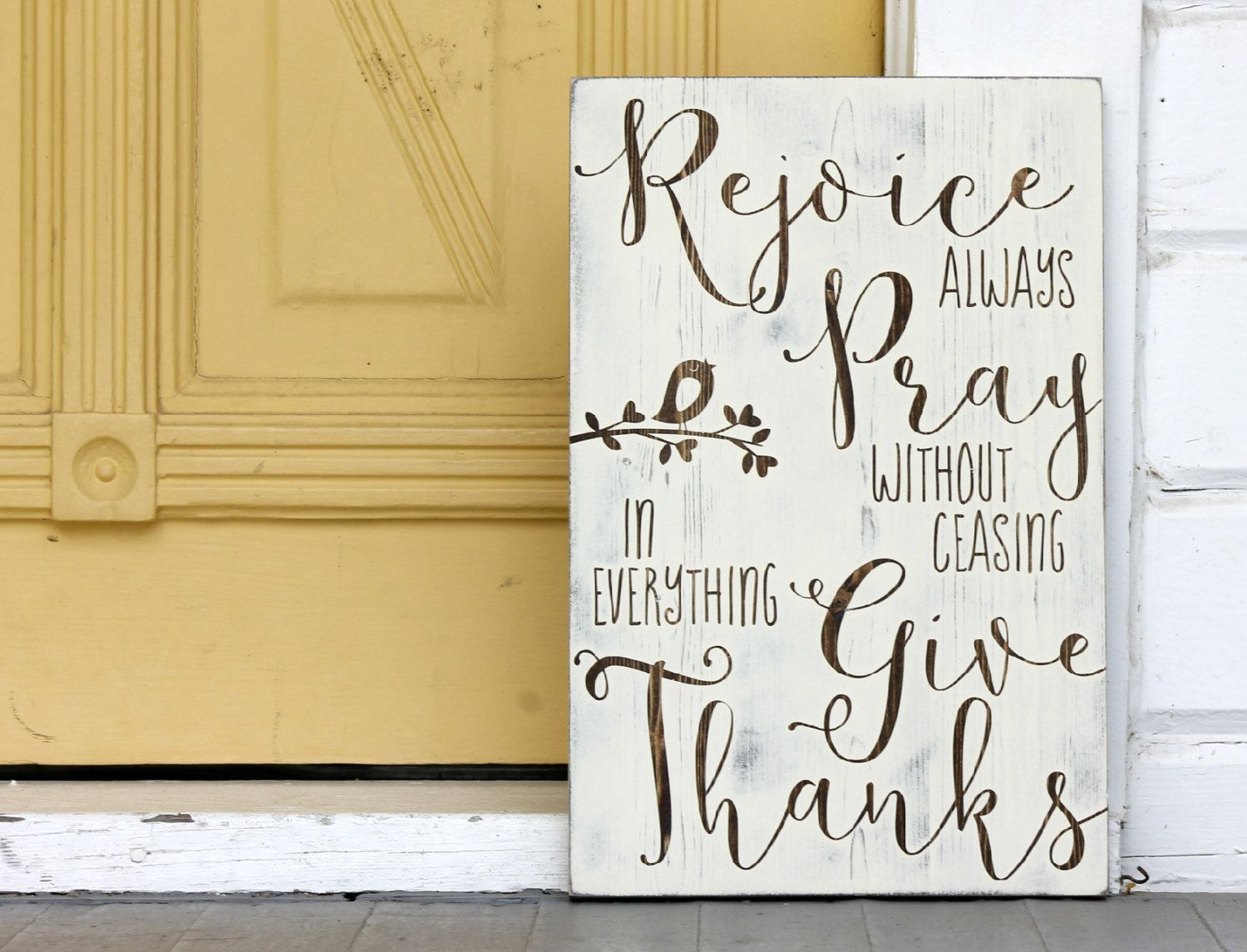Rejoice always, Pray without ceasing, give thanks, Hand painted wood ...