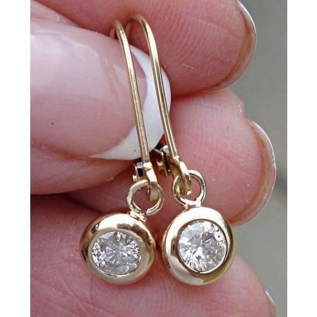 14K Or Blanc Diamant Ovale Dangle Leverback Boucles D/'oreilles