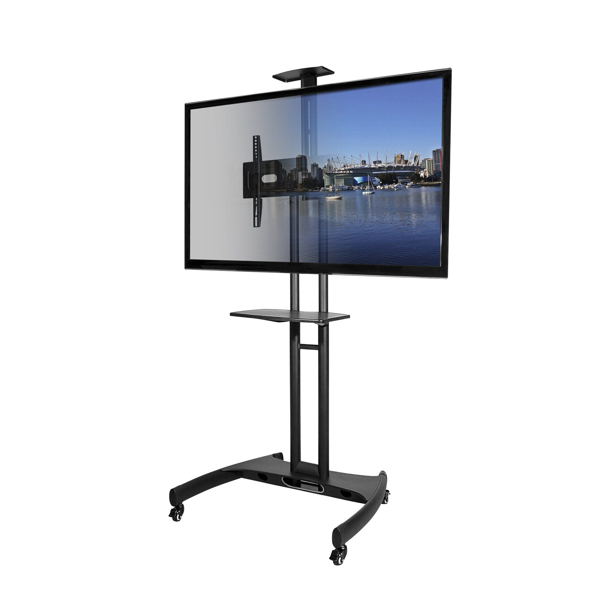 Kanto Mtm65pl Mobile Tv Stand With Mount For 37 To 65 Inch Flat Panel Screens Black Click Image For More Mobile Tv Stand Tv Floor Stand Tv Stand With Mount