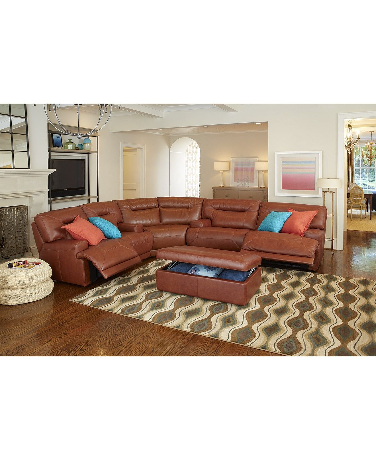 Leather Sectional Living Room Furniture Ricardo Leather Sectional Living Room Furniture Collection Power