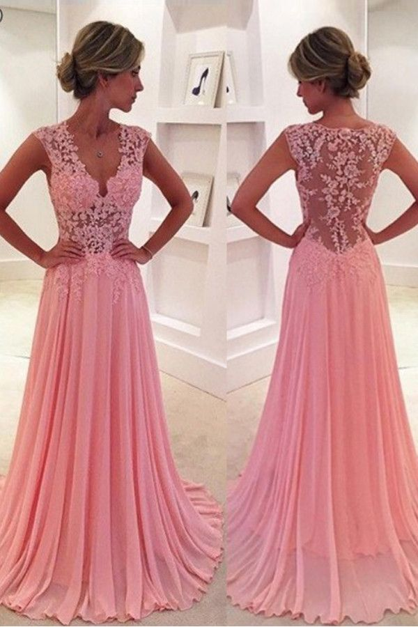V-Neck Court Train Pink Prom Dress/Evening Dress PG 239 | Vestiditos ...