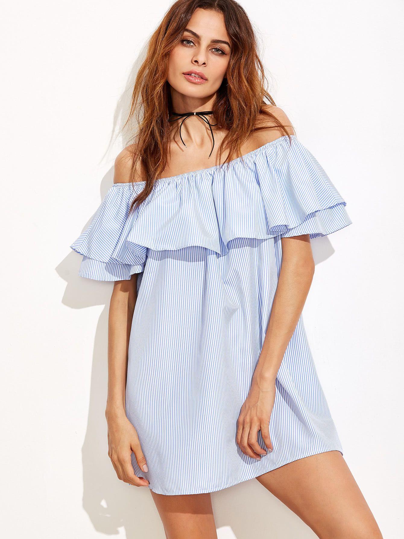 649505f3ee43 Blue Striped Off The Shoulder Ruffle DressFor Women-romwe