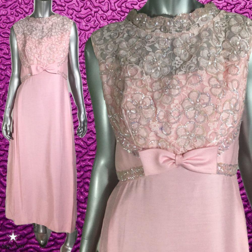 Vintage s dress pink floral flower sequins mike benet formals gown