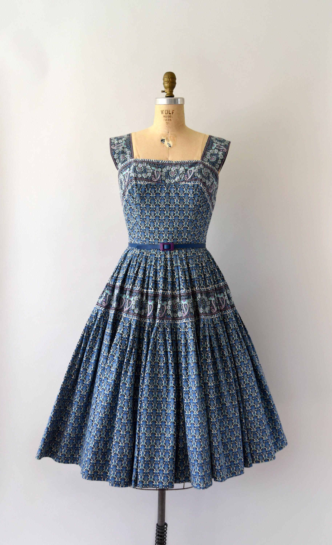 1950s Vintage Dress 50s Carolyn Schnurer Sundress Blue | 1950\'s ...