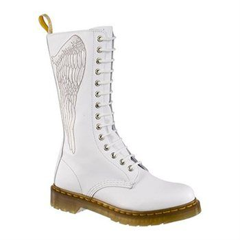 White embroidered Docs. I kind of love them, but I also kind of feel like the wing is backwards!