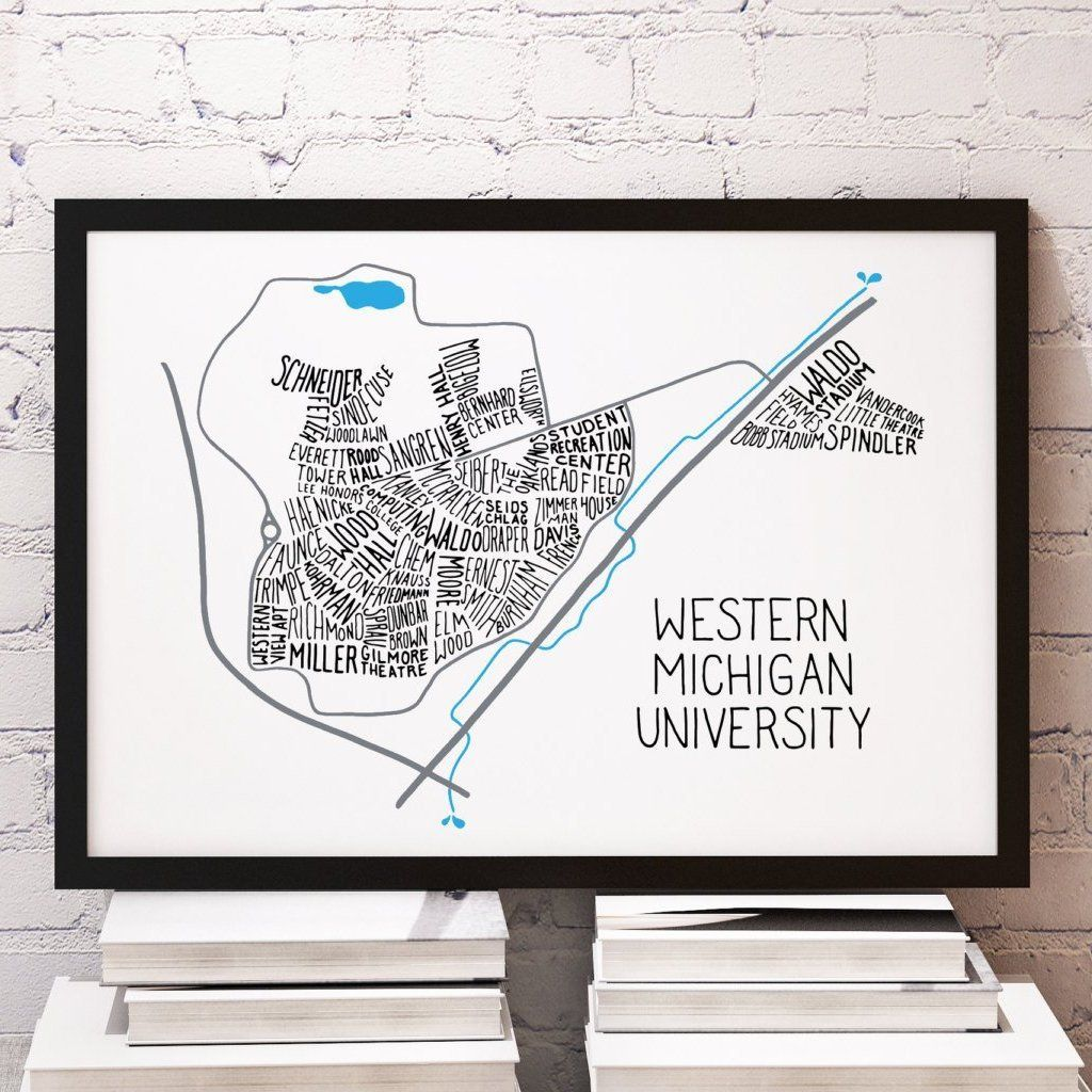 Western Michigan University WMU Main Campus Typography Map in 2019 ...