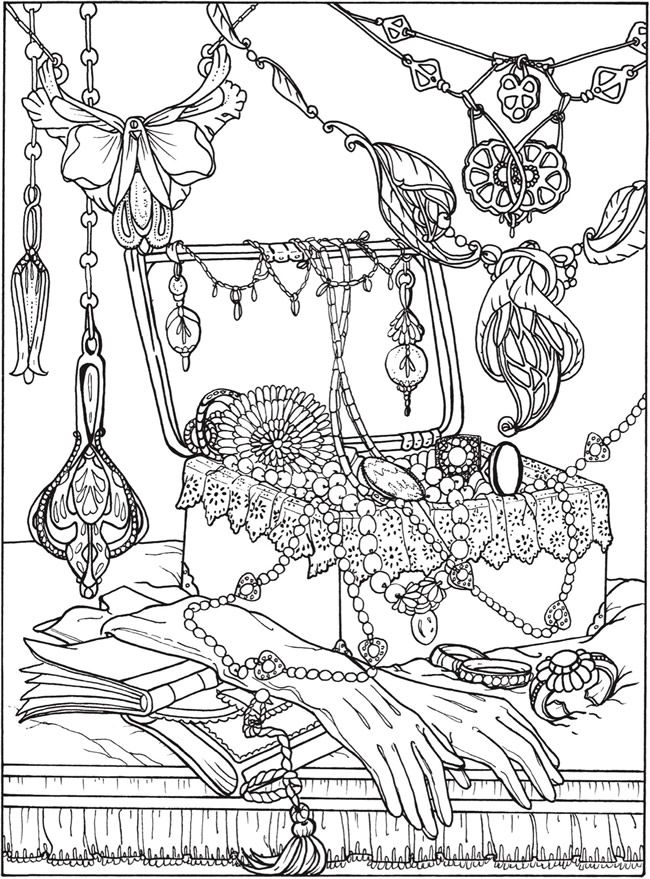 Printable Coloring Page By Dover Publications Art Nouveau Jewelry Box Necklaces Jewellery Jewels Pearls Book Gloves