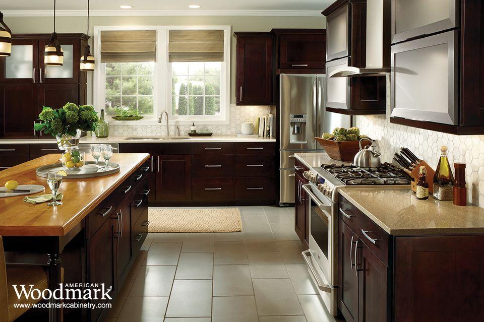 Best Reading Maple Espresso Kitchen American Woodmark Cabinets 400 x 300