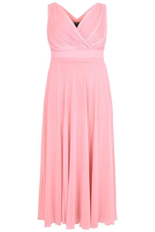 Scarlett Jo Rose Pink Marilyn Wrap Front Maxi Dress Black