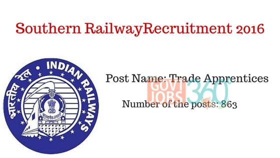 Southern Railway(863 Posts) Recruitment 2016