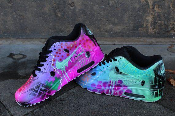 lowest price b8053 20df4 Custom Nike Air Max 90 Funky Galaxy Colours Graffiti Airbrush  Etsy