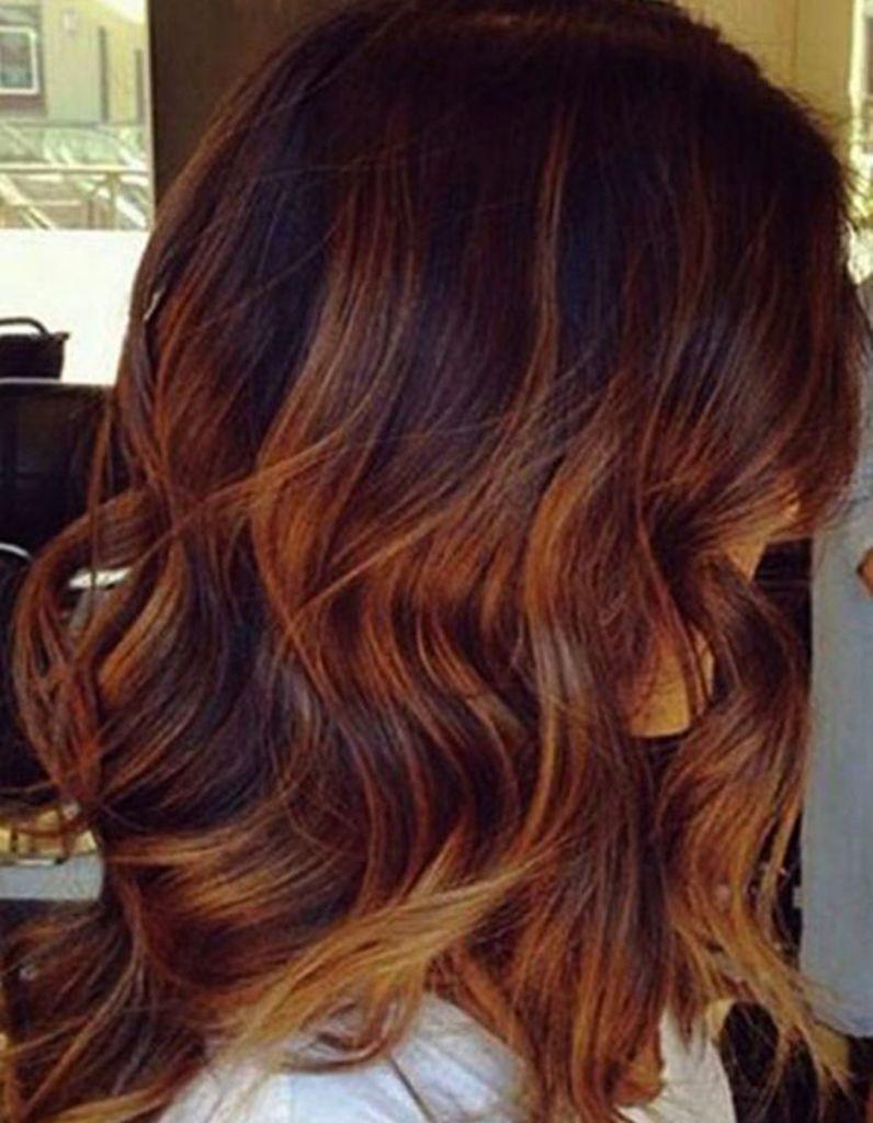 Balayage cuivré caramel Coloration cheveux, Couleur