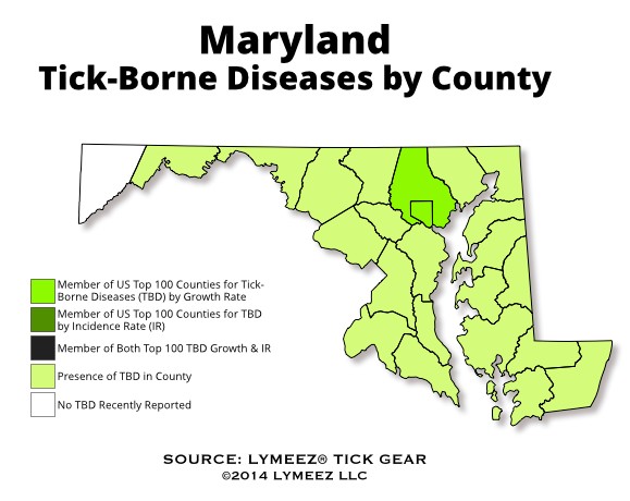 Tickborne diseases are broadly wellestablished in Maryland