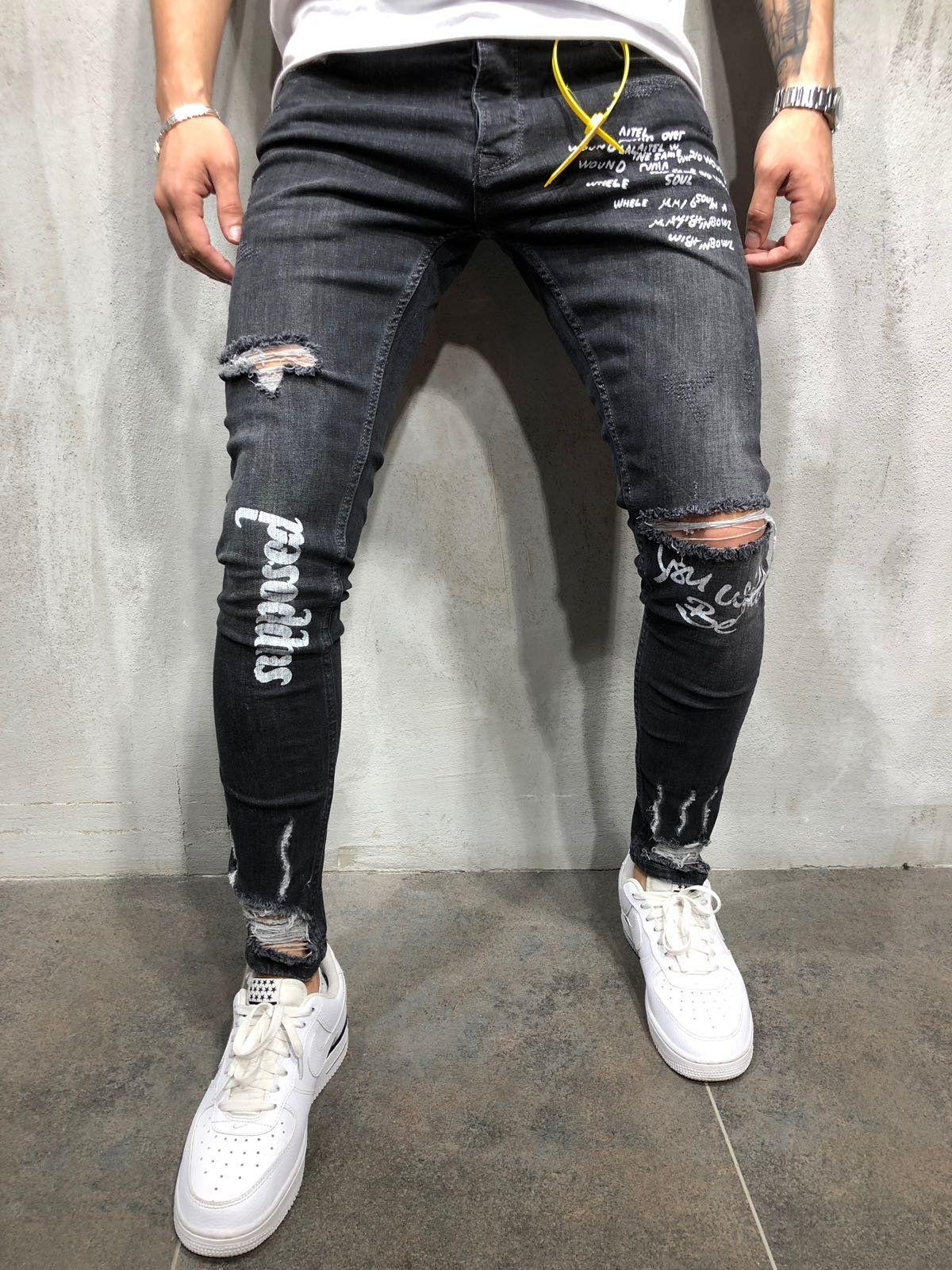 4bd493b2e34 KAYDENK Men39s PU Side Stripe Destroyed Ankle Zip Skinny Jeans