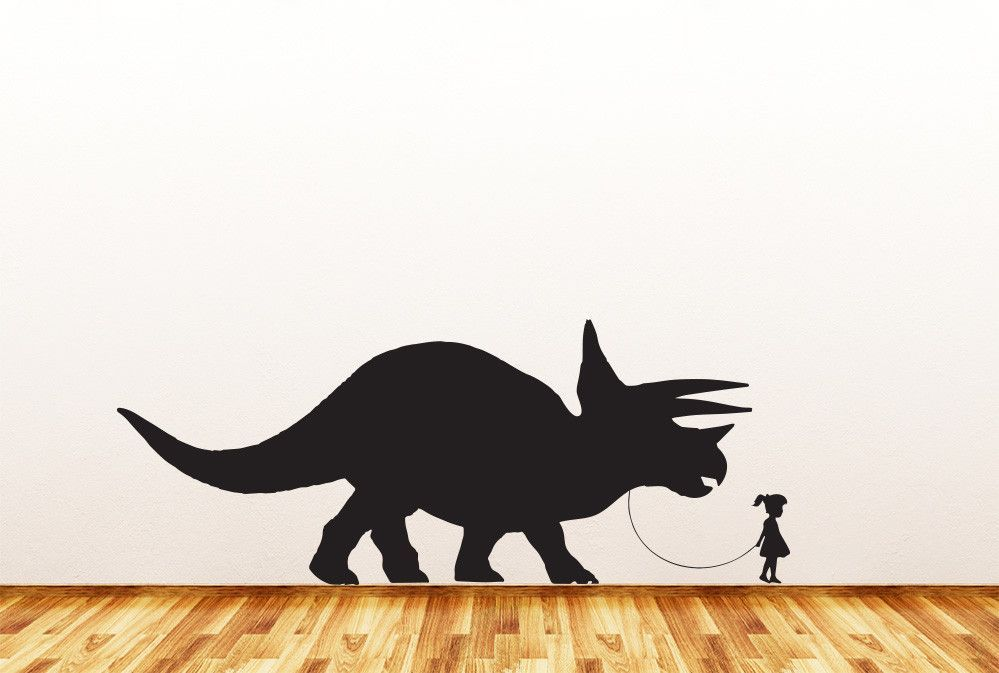 "Dinosaur Pet - Child with Triceratops - Wall Vinyl Decal Sticker - ©YYDC (36""w x 14""h) (Variations Available)"