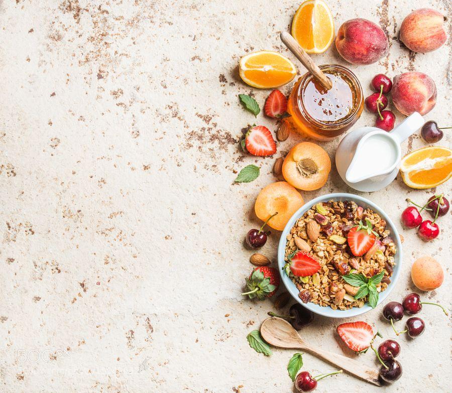 Pic Healthy breakfast ingredients. Bowl of oat granola
