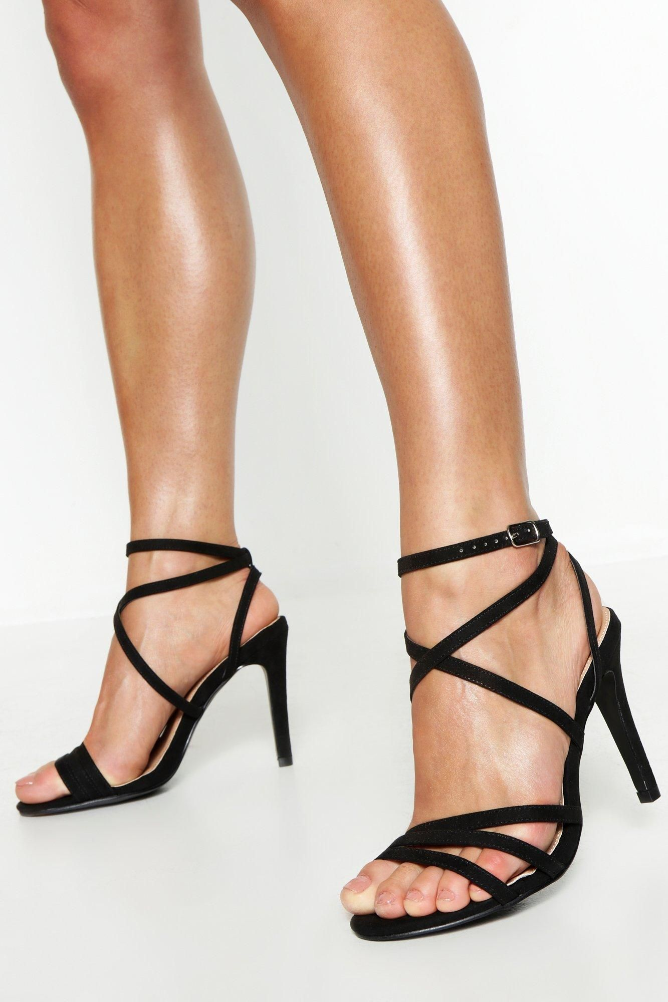 Womens Extra Wide Fit Strappy Heel Sandals Black 6 In 2020 Strappy Sandals Heels Sandals Heels Black Sandals Heels