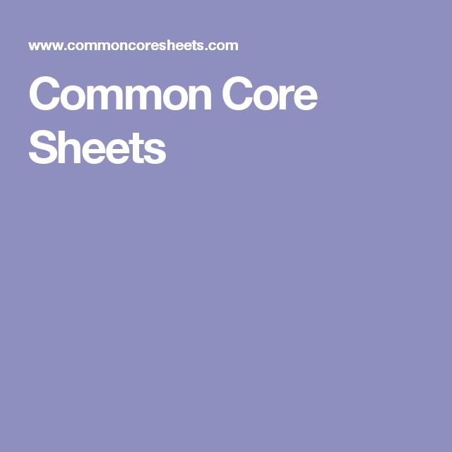 Common Core Sheets | KIDS | Pinterest