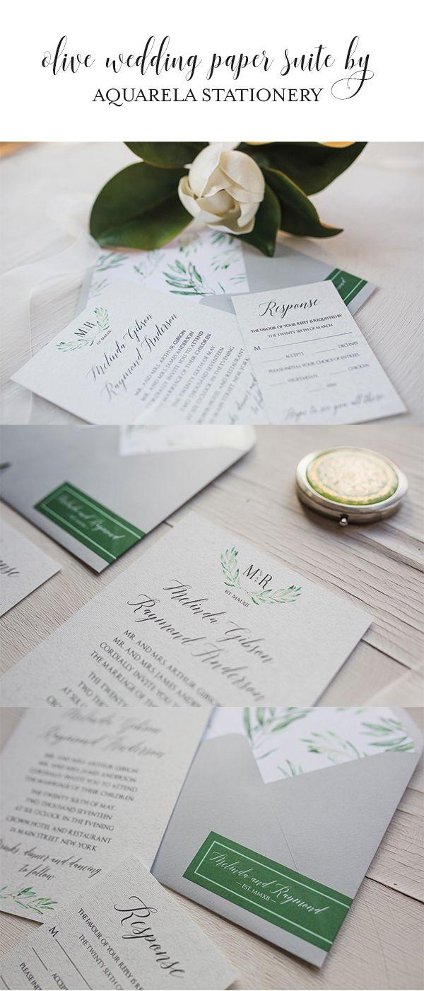 Olive Wreath Wine Wedding Invitations Vineyard Wedding Invitations